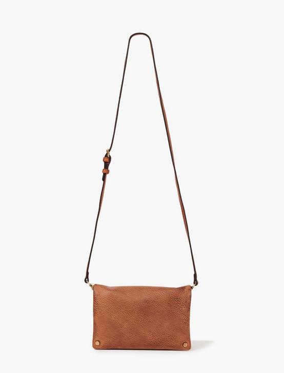 FOLDOVER CROSSBODY BAG, DARK BROWN, productTileDesktop