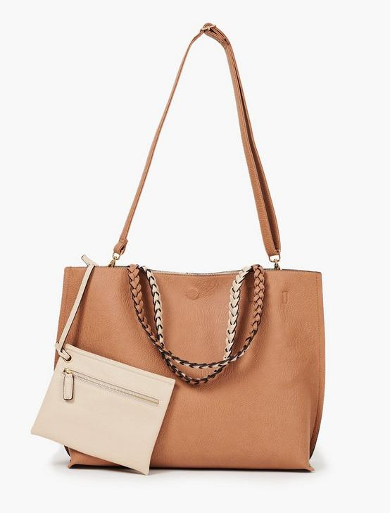 Reversible Tote With Braided Strap