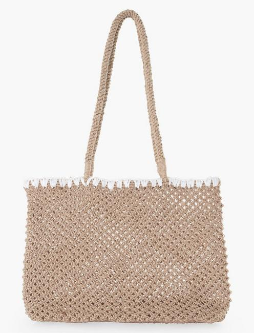 EMBROIDERED CROCHET TOTE,