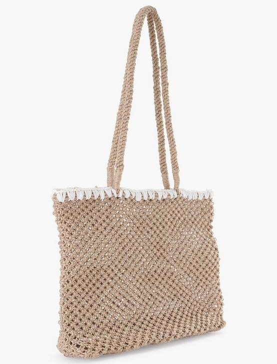 EMBROIDERED CROCHET TOTE, NATURAL, productTileDesktop