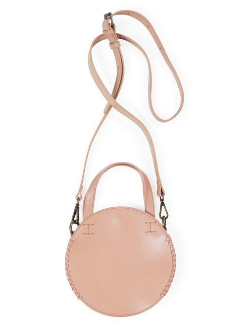 THE POINT LEATHER CIRCLE BAG, BLUSH