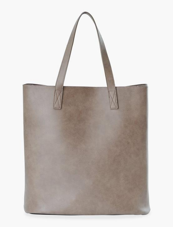 VEGAN LEATHER ATTACHED POCKET TOTE, DARK BROWN, productTileDesktop
