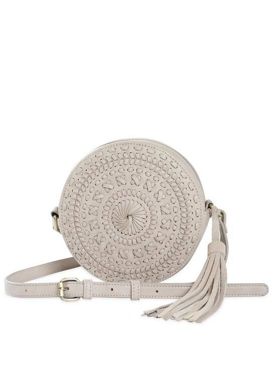 VEGAN LEATHER CIRCULAR WOVEN CROSSBODY