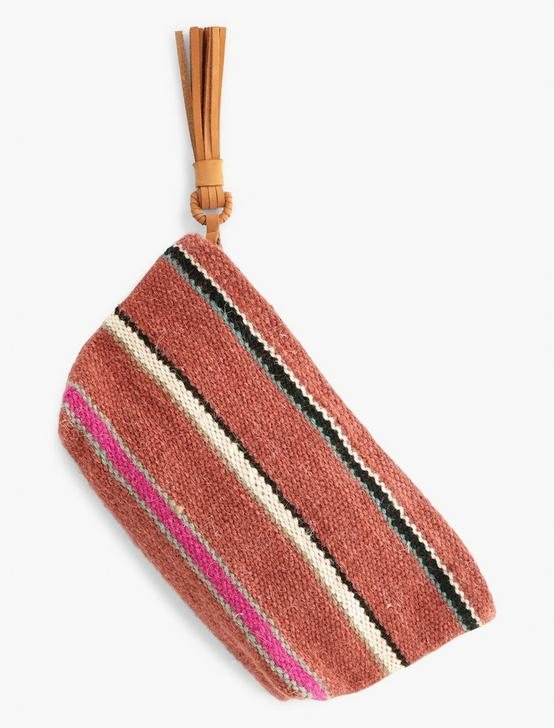 STRIPED FABRIC POUCH BAG, RUST, productTileDesktop