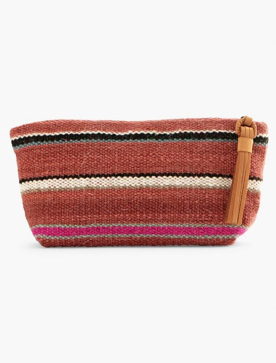 STRIPED FABRIC POUCH, RUST, productTileDesktop