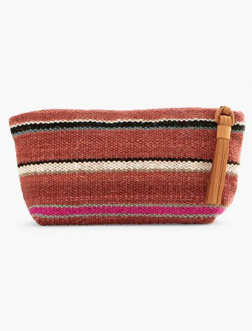 STRIPED FABRIC POUCH BAG, RUST