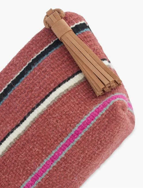 STRIPED FABRIC POUCH, RUST