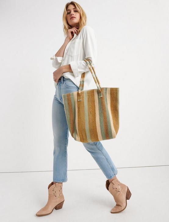 STRIPED TOTE, NATURAL MULTI, productTileDesktop