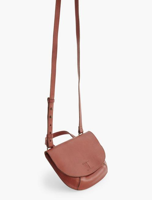 POINT LEATHER DOUBLE POCKET CROSSBODY BAG, COGNAC