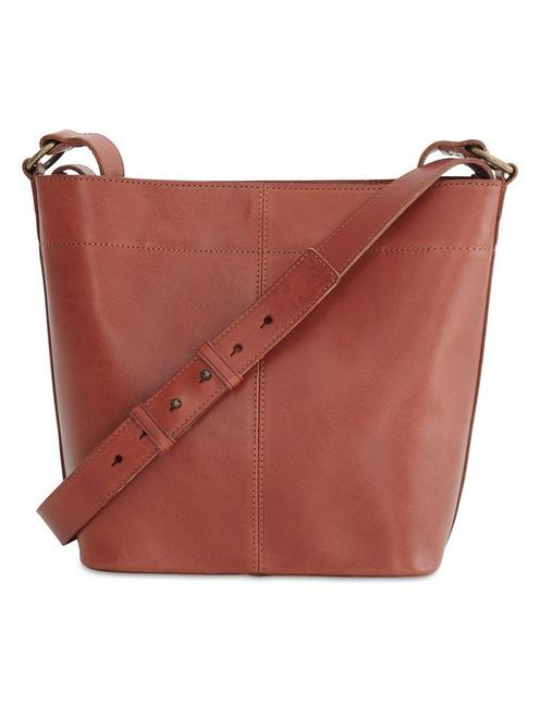 POINT LEATHER SATCHEL, COGNAC