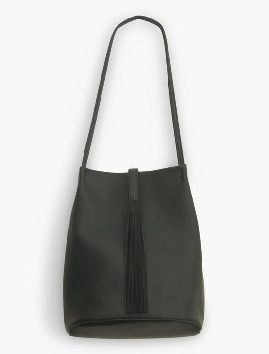VEGAN LEATHER TASSEL BUCKET BAG, BLACK, productTileDesktop