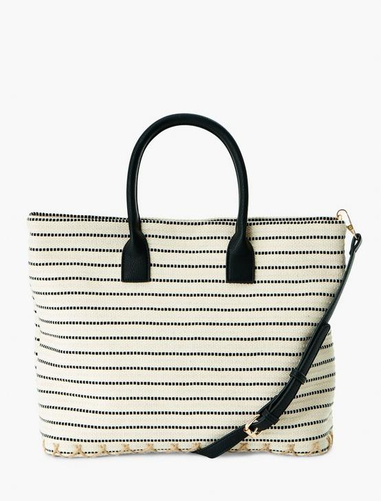 STRIPE SHOPPER TOTE, NATURAL, productTileDesktop
