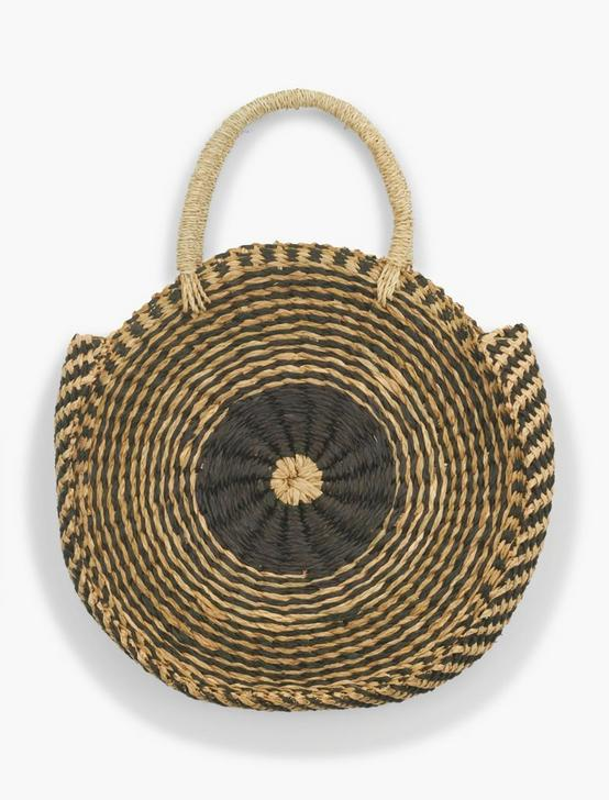 STRAW CIRCULAR TOTE, BLACK/NATURAL, productTileDesktop