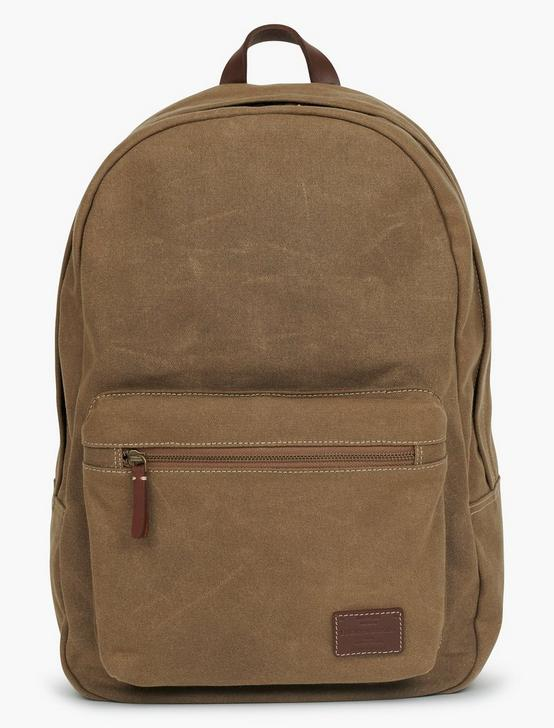 WAXED CANVAS ZIP BACKPACK, OLIVE/BROWN, productTileDesktop