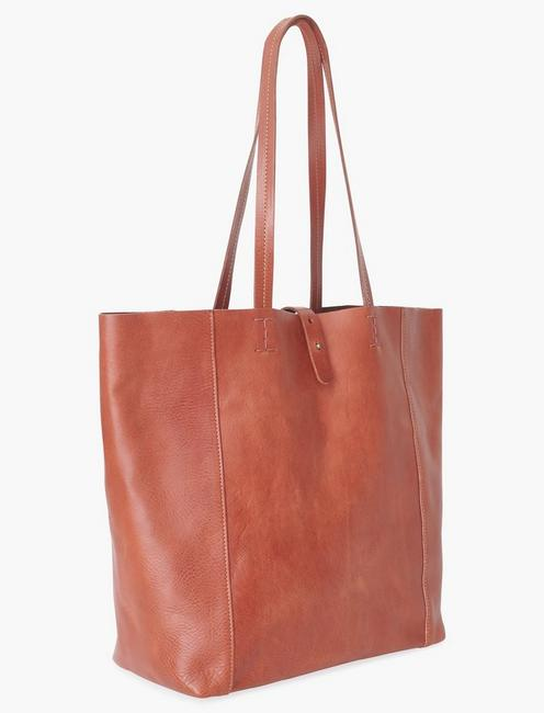 THE POINT LEATHER TOTE BAG, COGNAC