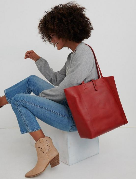 THE POINT LEATHER TOTE, POPPY RED, productTileDesktop