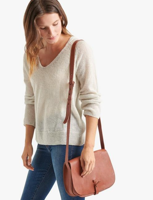 THE POINT LEATHER SADDLE BAG, COGNAC