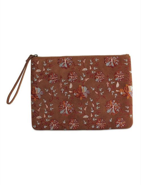 FLORAL EMBROIDERED CLUTCH BAG,