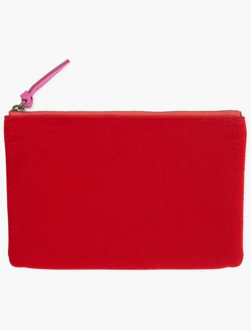 MIXED MATERIAL POUCH, RED