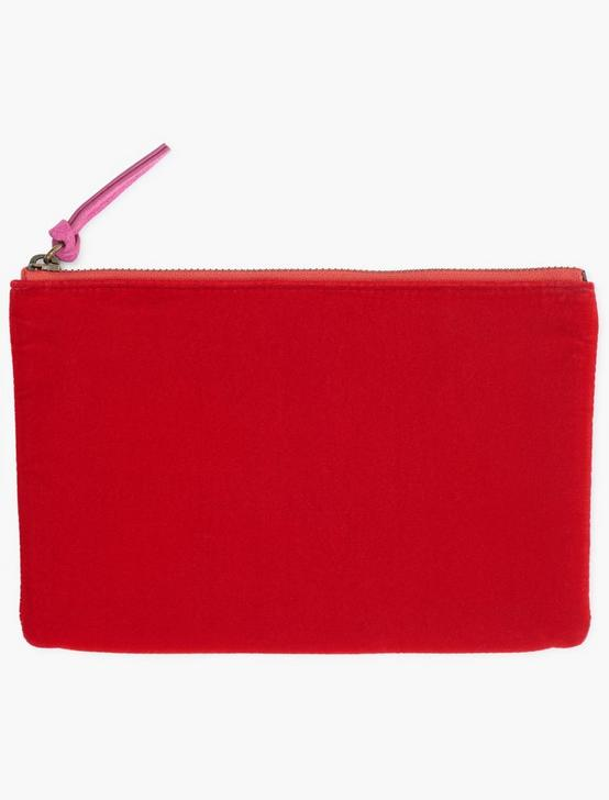 MIXED MATERIAL POUCH BAG, RED, productTileDesktop