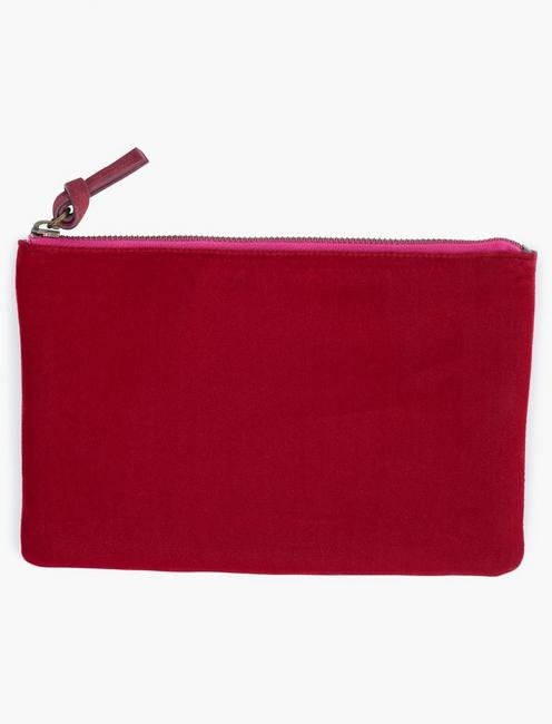 MIXED MATERIAL POUCH BAG, PLUM