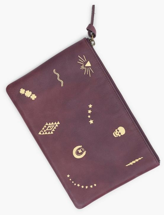 MOTIF LEATHER POUCH, PLUM, productTileDesktop