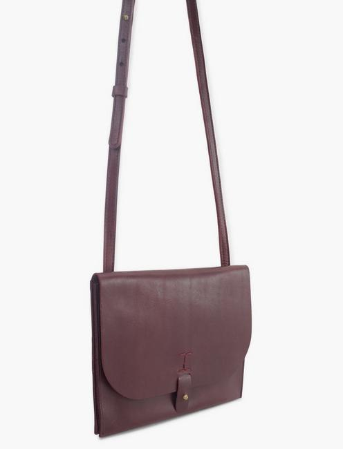 LEATHER CROSSBODY BAG, PLUM