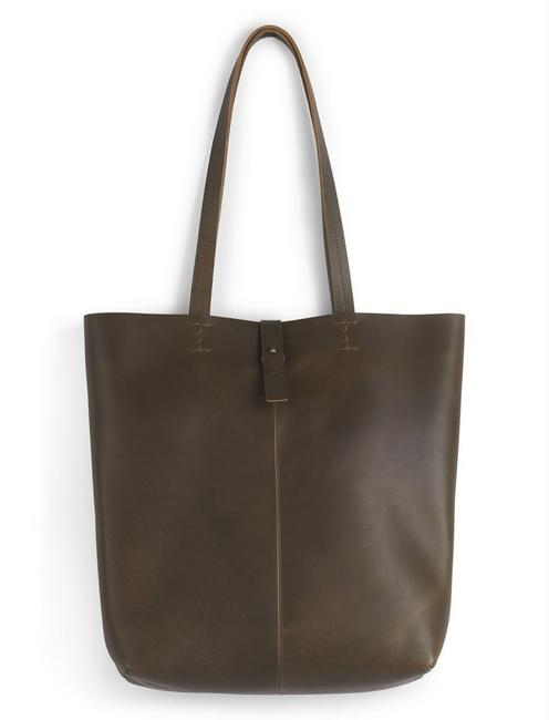 THE POINT LEATHER TOTE BAG, 378 OLIVE