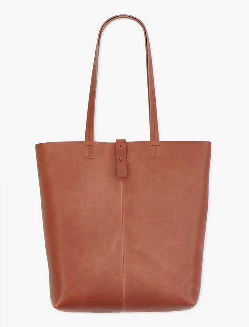 THE POINT LEATHER TOTE, COGNAC