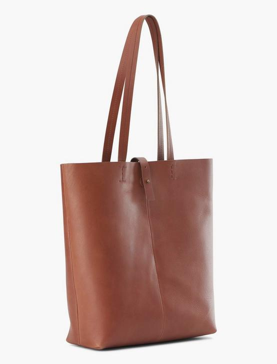 THE POINT LEATHER TOTE BAG, COGNAC, productTileDesktop