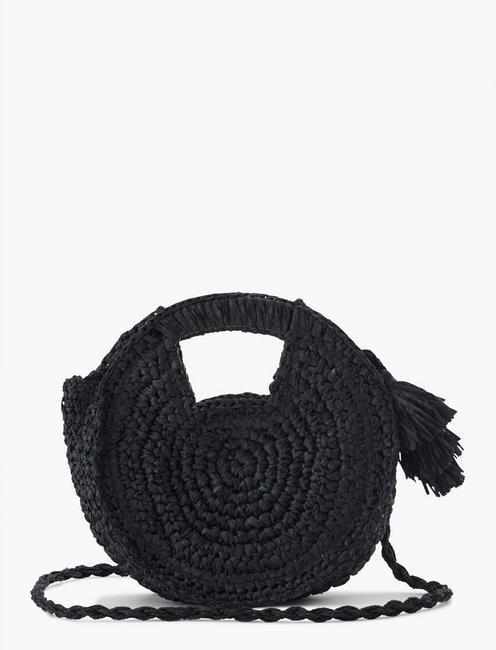 WOVEN CROSSBODY BAG, BLACK