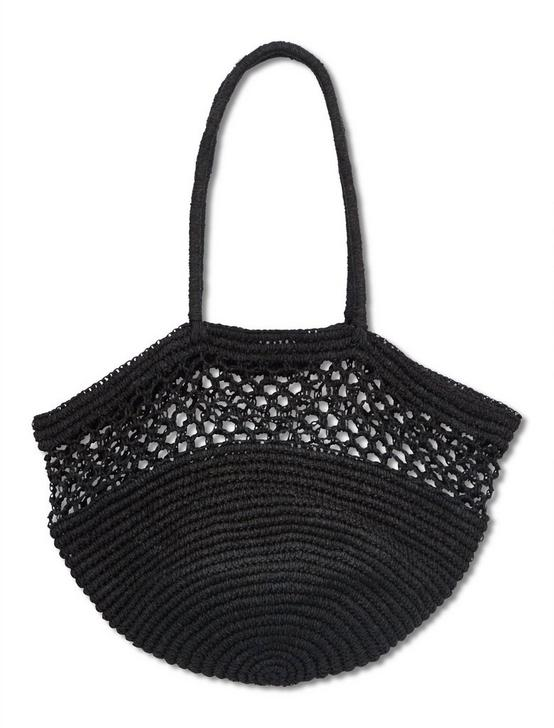 OPENWORK STRAW RAFIA TOTE BAG, BLACK, productTileDesktop