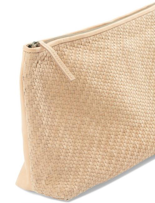 WOVEN LEATHER CLUTCH, TAN