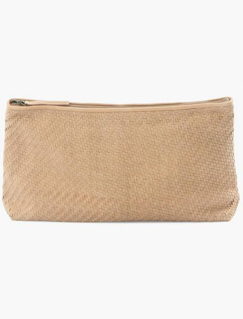 WOVEN LEATHER CLUTCH,