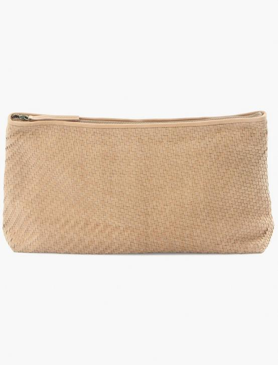WOVEN LEATHER CLUTCH, TAN, productTileDesktop