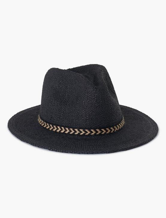 STRAW FEDORA, BLACK, productTileDesktop