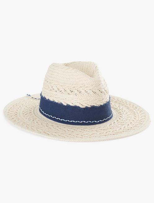 LAYERED TRIM STRAW HAT,