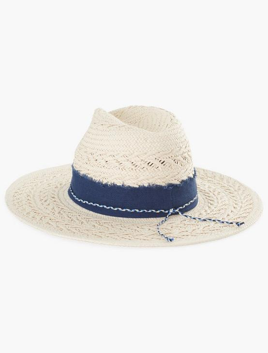 LAYERED TRIM STRAW HAT, #130 NATURAL, productTileDesktop