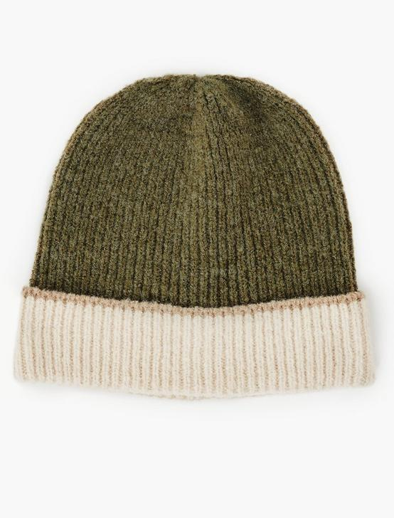 COLORBLOCKED BEANIE HAT, OLIVE MULTI, productTileDesktop