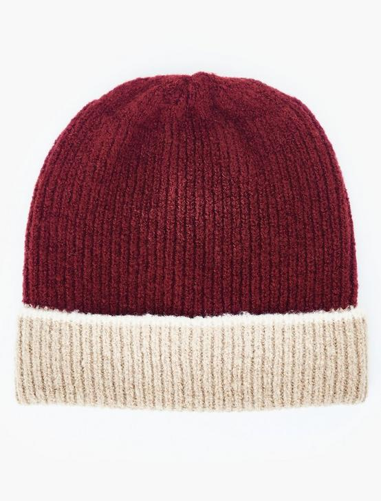 COLORBLOCKED BEANIE HAT, BURGUNDY MULTI, productTileDesktop