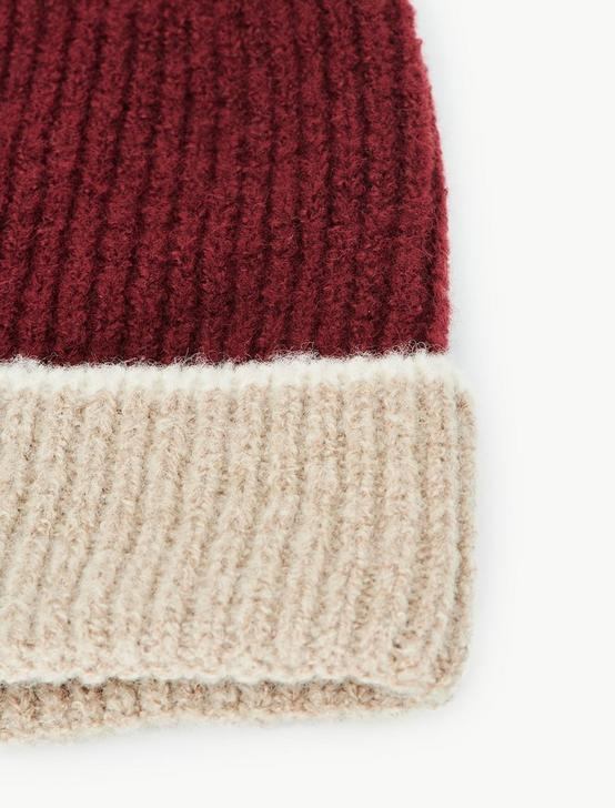 COLORBLOCKED BEANIE, BURGUNDY MULTI, productTileDesktop
