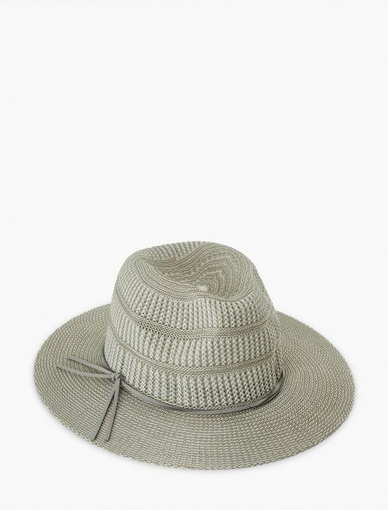 STRIPE WOVEN KNIT HAT, LIGHT GREY, productTileDesktop
