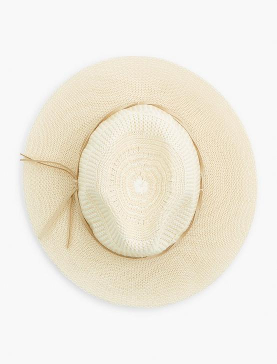STRIPE WOVEN KNIT HAT, CREAM, productTileDesktop