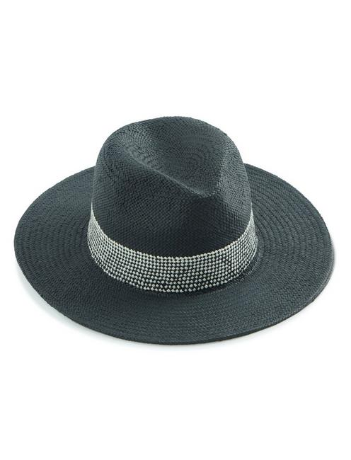 FEDORA WITH WOVEN TRIM,