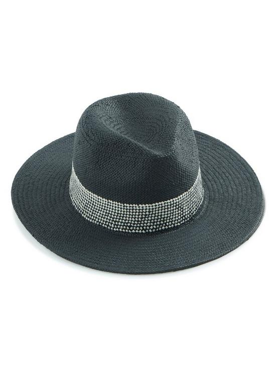 FEDORA WITH WOVEN TRIM, BLACK, productTileDesktop