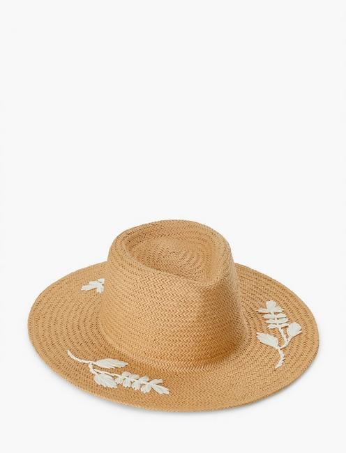 NATRUAL EMB STRAW HAT, #130 NATURAL