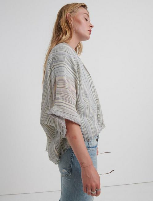 MIXED STRIPED FRAY KIMONO, MULTI