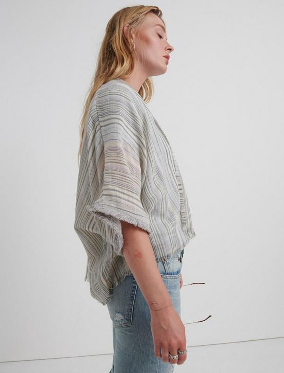 MIXED STRIPED FRAY KIMONO, MULTI, productTileDesktop