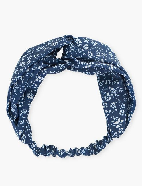 FLORAL PRINTED HEADSCARF, NAVY MULTI