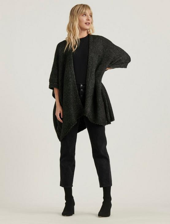 OPEN KNIT KIMONO, CHARCOAL HEATHER, productTileDesktop